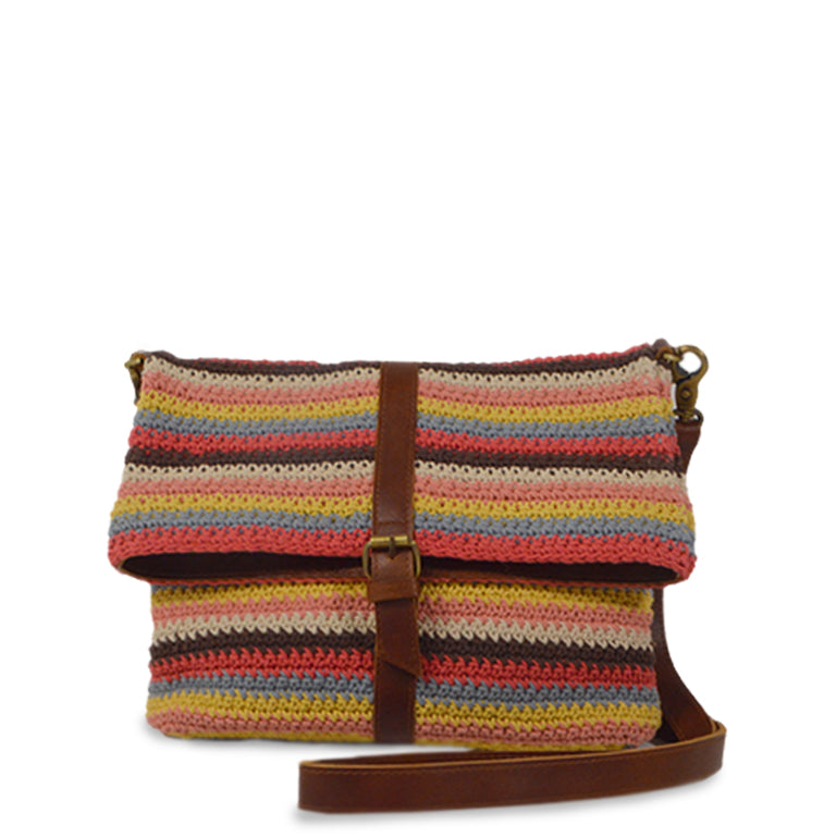 Colorful striped cotton knit bag, front view handle down, Yolanda Knit Foldover Crossbody Bag..