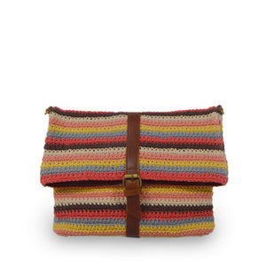 Colorful striped cotton knit bag, front view as a clutch, Yolanda Knit Foldover Crossbody Bag..