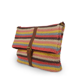 Colorful striped cotton knit bag, angle view as a clutch, Yolanda Knit Foldover Crossbody Bag.