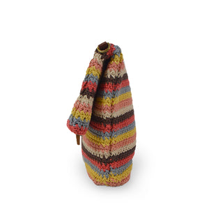 Colorful striped cotton knit bag, side view as a clutch, Yolanda Knit Foldover Crossbody Bag.