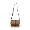 Colorful striped cotton knit bag, front view, Yolanda Knit Foldover Crossbody Bag