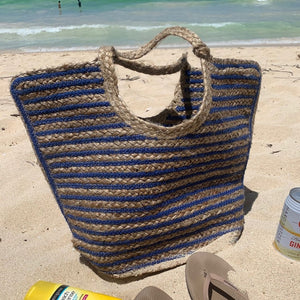 Striped jute tote on a Hawaiian beach, Amanda Jute Tote.