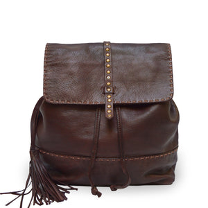 Brown leather backpack, front view, Beth Leather Backpack.