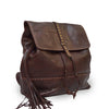 Brown leather backpack, angle view, Beth Leather Backpack.