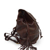 Brown leather backpack, side view, Beth Leather Backpack.