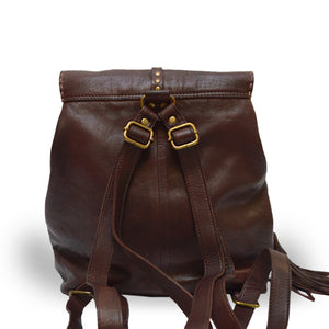 Brown backpack, back view, Beth Leather Backpack.