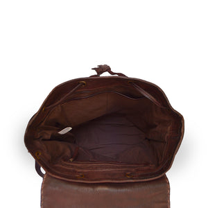 Brown leather backpack, interior view, Beth Leather Backpack.