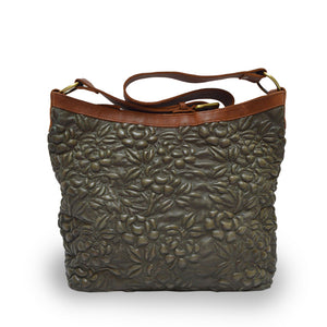 Green leather shoulder bag with handle down, quilted floral detail, Cari Quilted Shoulder Bag.