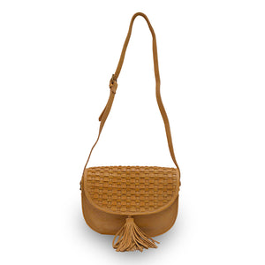 Faye, front, handle up, leather saddle bag, honey colored, Faye Saddle Crossbody Bag.