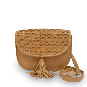 Faye, front, leather saddle bag, honey colored, Faye Saddle Crossbody Bag.