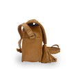 side view of small bag, Faye Saddle Crossbody Bag, leather saddle bag, honey color.