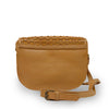 Faye Saddle Crossbody Bag, back view of bag, leather saddle bag, honey colored.