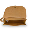 Faye Saddle Crossbody Bag, interior shot, leather saddle bag, light brown.
