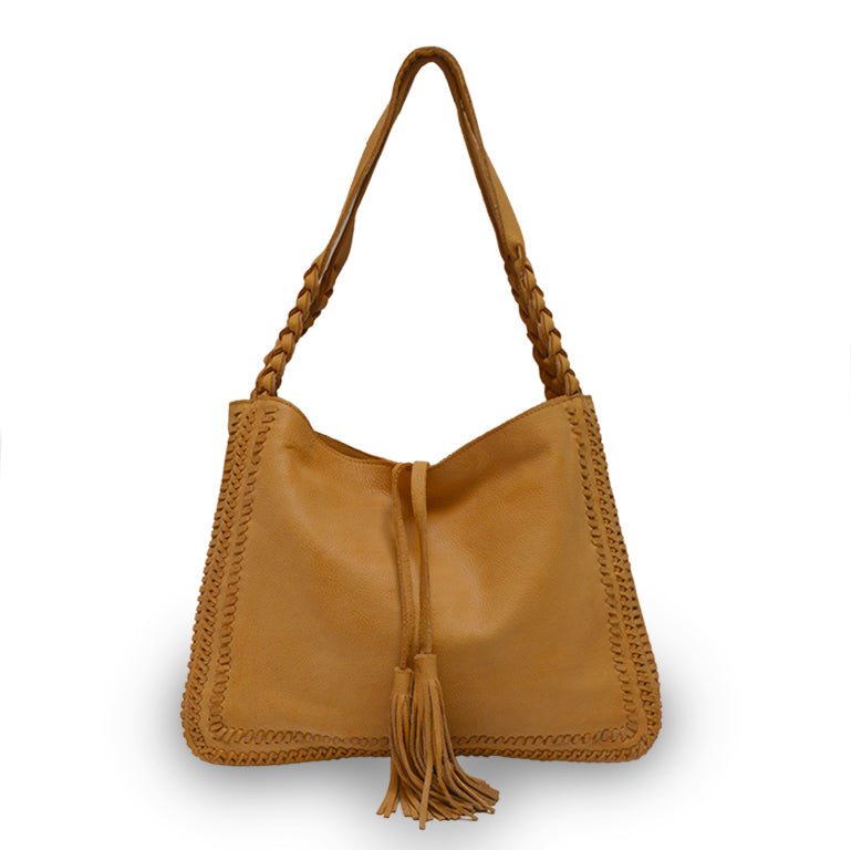 Grace, front, leather bag, honey color