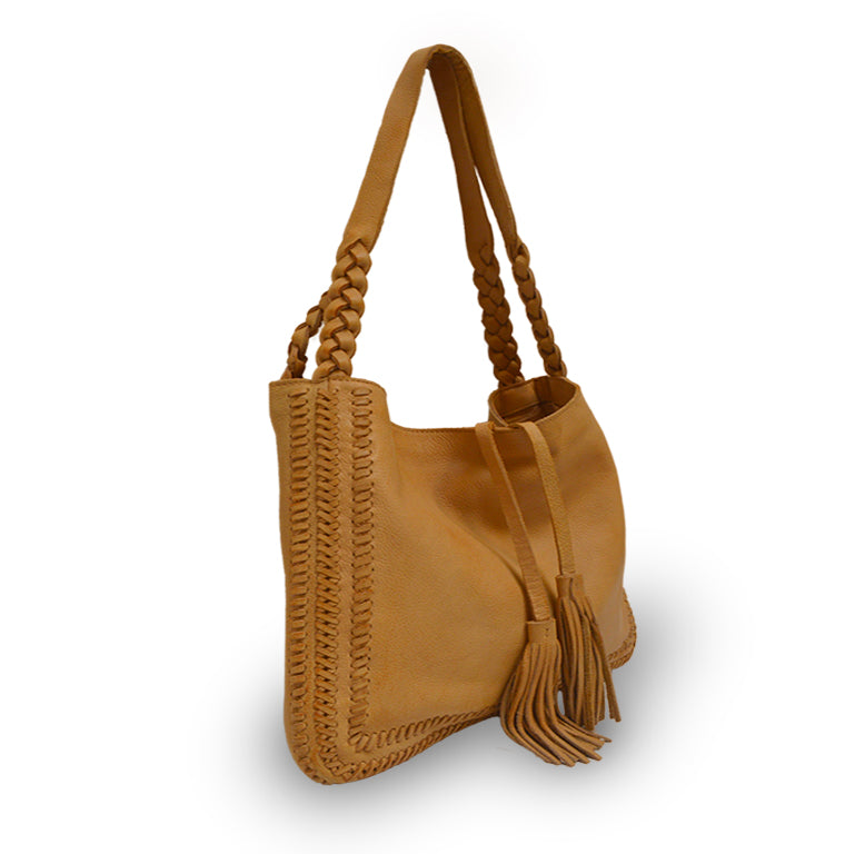 Grace, front at an angle, leather bag, honey color