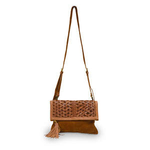 Red brown suede clutch with leather woven flap, Ivy Clutch.