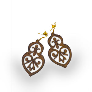 leather earring, back view, gold foil, filigree, Leather Gold Foil Filigree Earring.