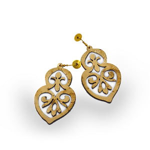 Leather earring, filigree, front view, Leather Gold Foil Filigree Earring.
