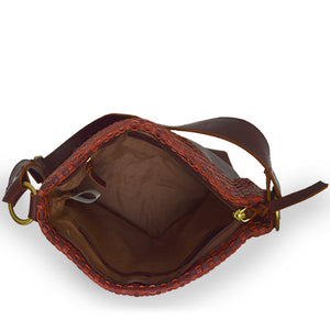Interior view of a wine colored leather shoulder bag, Nomi Shoulder Bag.