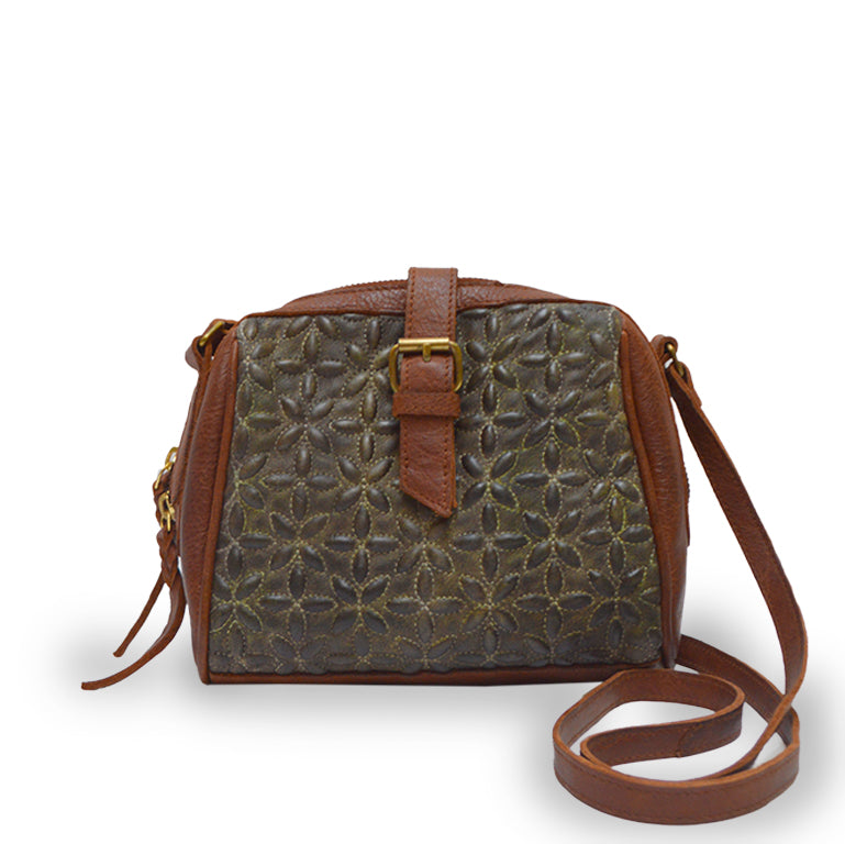 Front view of green quilted bag, handle down, Sam Quilted Crossbody Bag.