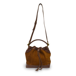 Brown suede crossbody bag, handle up, front view, Rowan Crossbody Suede Bag.