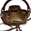 Brown suede crossbody bag, interior view, Rowan Crossbody Suede Bag.