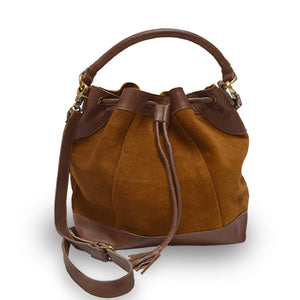 Brown suede crossbody bag, handle down, front view, Rowan Crossbody Suede Bag.