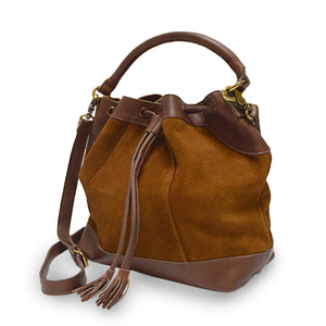Brown suede crossbody bag, handle down, angle view, Rowan Crossbody Suede Bag.
