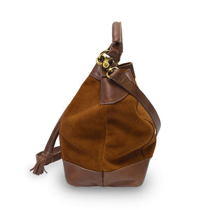 Brown suede crossbody bag, handle down, side view, Rowan Crossbody Suede Bag.
