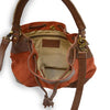 Brick suede crossbody bag, interior view, Rowan Crossbody Suede Bag.