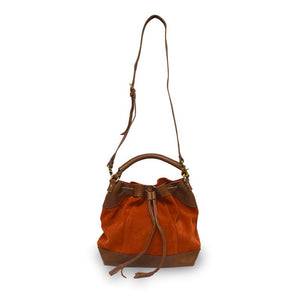 Brick suede crossbody bag, handle up, front view, Rowan Crossbody Suede Bag.