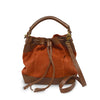 Brick suede crossbody bag, handle down, front view, Rowan Crossbody Suede Bag.