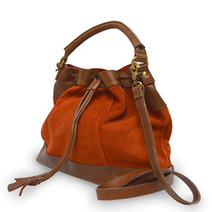 Brick suede crossbody bag, handle down, angle view, Rowan Crossbody Suede Bag.