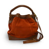 Brick suede crossbody bag, handle down, back view, Rowan Crossbody Suede Bag.