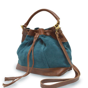 Teal suede crossbody bag, handle down, front view, Rowan Crossbody Suede Bag.