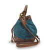 Teal suede crossbody bag, handle down, side view, Rowan Crossbody Suede Bag.