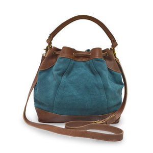 Teal suede crossbody bag, handle down, back view, Rowan Crossbody Suede Bag.