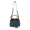 Teal suede crossbody bag, handle up, front view, Rowan Crossbody Suede Bag.