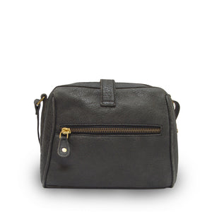 Back view of the black leather bag, Sam Leather Crossbody Bag.