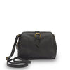 Front view of small black crossbody bag, Sam Leather Crossbody Bag.