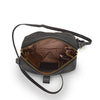 Interior view of the black leather bag, Sam Leather Crossbody Bag.