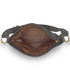 Interior view of black leather bag, Side Tie Shoulder Bag.