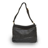 Front view of black leather handbag with handle up, Side Tie Shoulder Bag.
