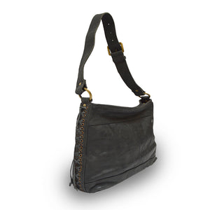 Side view of black leather handbag with handle up, Side Tie Shoulder Bag.