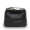 Front view of black leather handbag with handle down, Side Tie Shoulder Bag.