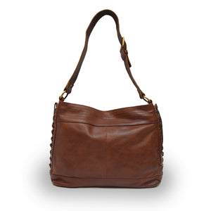 Front view of cognac brown leather bag with handle up, Side Tie Shoulder Bag.