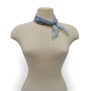 Blue square bandana on mannequin, Sweet Spring Bandana.