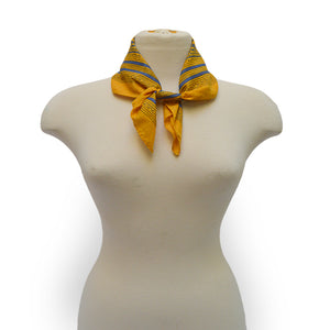 Yellow and blue square bandana on mannequin, Sweet Spring Bandana.