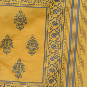 Up close image of yellow and blue bandana, Sweet Spring Bandana.
