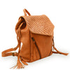 Angle view of coral leather backpack with woven flap, Julie Leather Backpack.